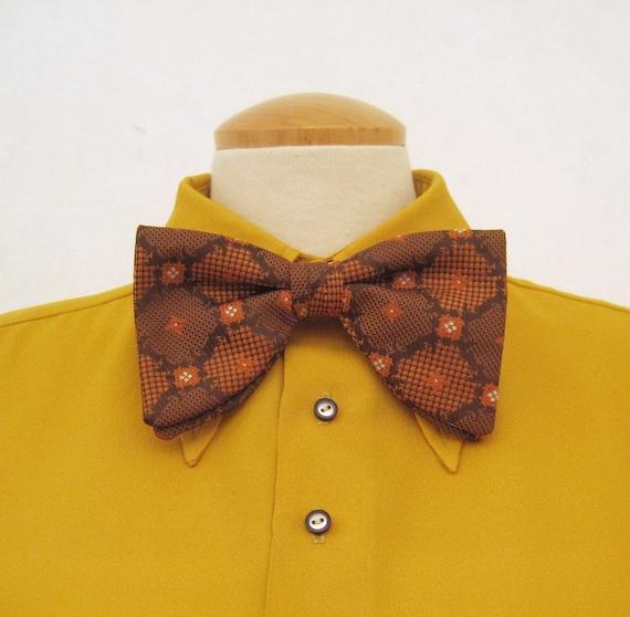 70s Bow Tie Vintage Polyester Brocade Huge Butterfly Bowtie Brown Orange
