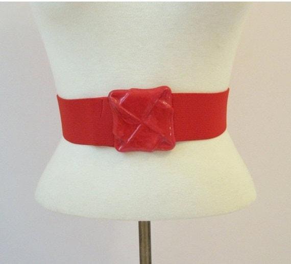 80s Belt Vintage Red Stretch Elastic Cinch M