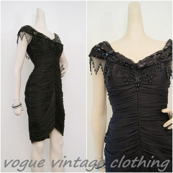 80s Dress Vintage Flapper Style Ruched Cocktail Wiggle w/ Fringe and Beading S XS