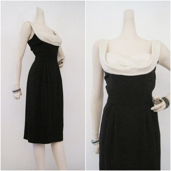 50s 60s Dress Vintage Shelf Bust Lurex Cocktail Wiggle Dress S