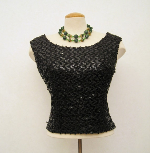 60s Top Vintage Black Sequined Sleeveless Evening Top M L