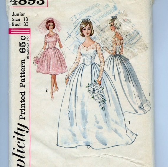 Vintage Wedding Dresses 50s 60s: 50s 60s Pattern Vintage Wedding Dress Bridesmaid Simplicity