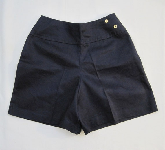 50s 60s Shorts Vintage Navy Blue High Waisted Pin up Shorts S M