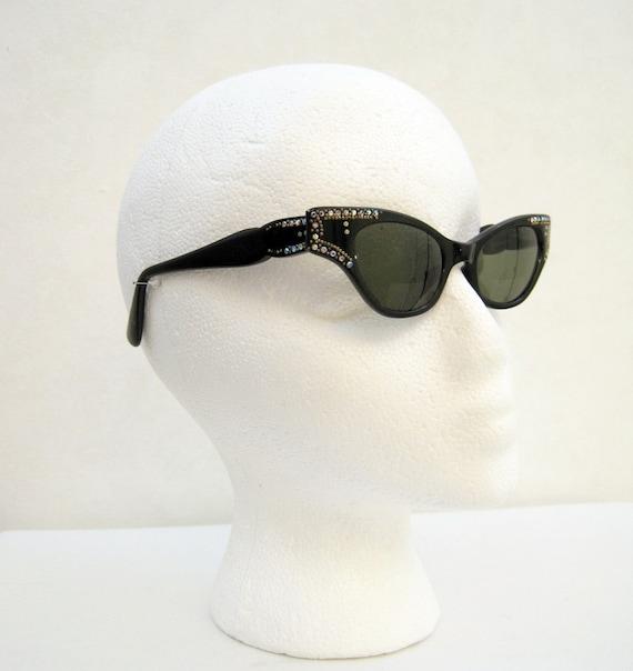 50s Sunglasses Vintage Catseye Made in France Rhinestone Black Frame Glasses