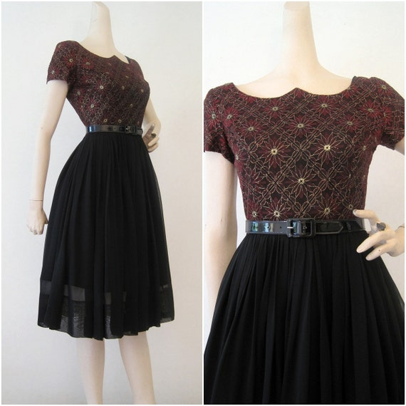 50s 60s Dress Vintage Lace and Chiffon Cocktail Party Dress S