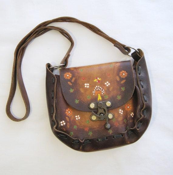 60s 70s Purse Vintage Hippie Boho Tooled Mushroom Toadstool Shoulder Bag