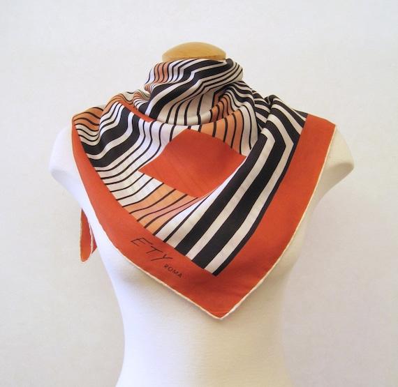 Designer Silk Scarf Vintage 60s signed Ety Geometric Hand Rolled