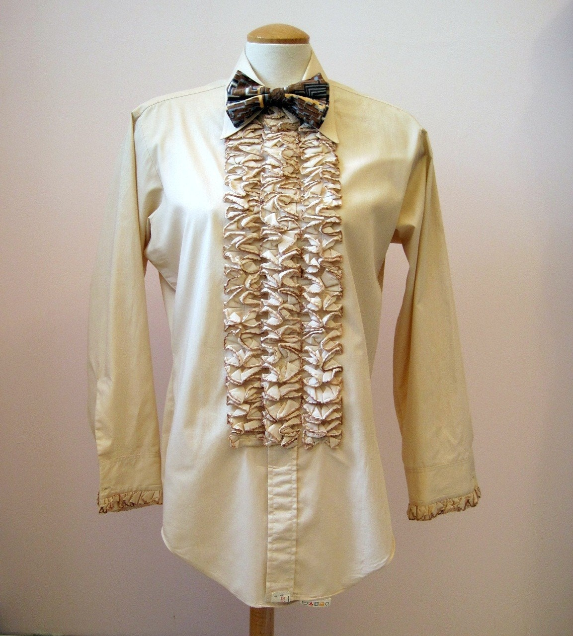 Vintage 70s disco ruffled tux tuxedo mens shirt for Frilly shirts for men