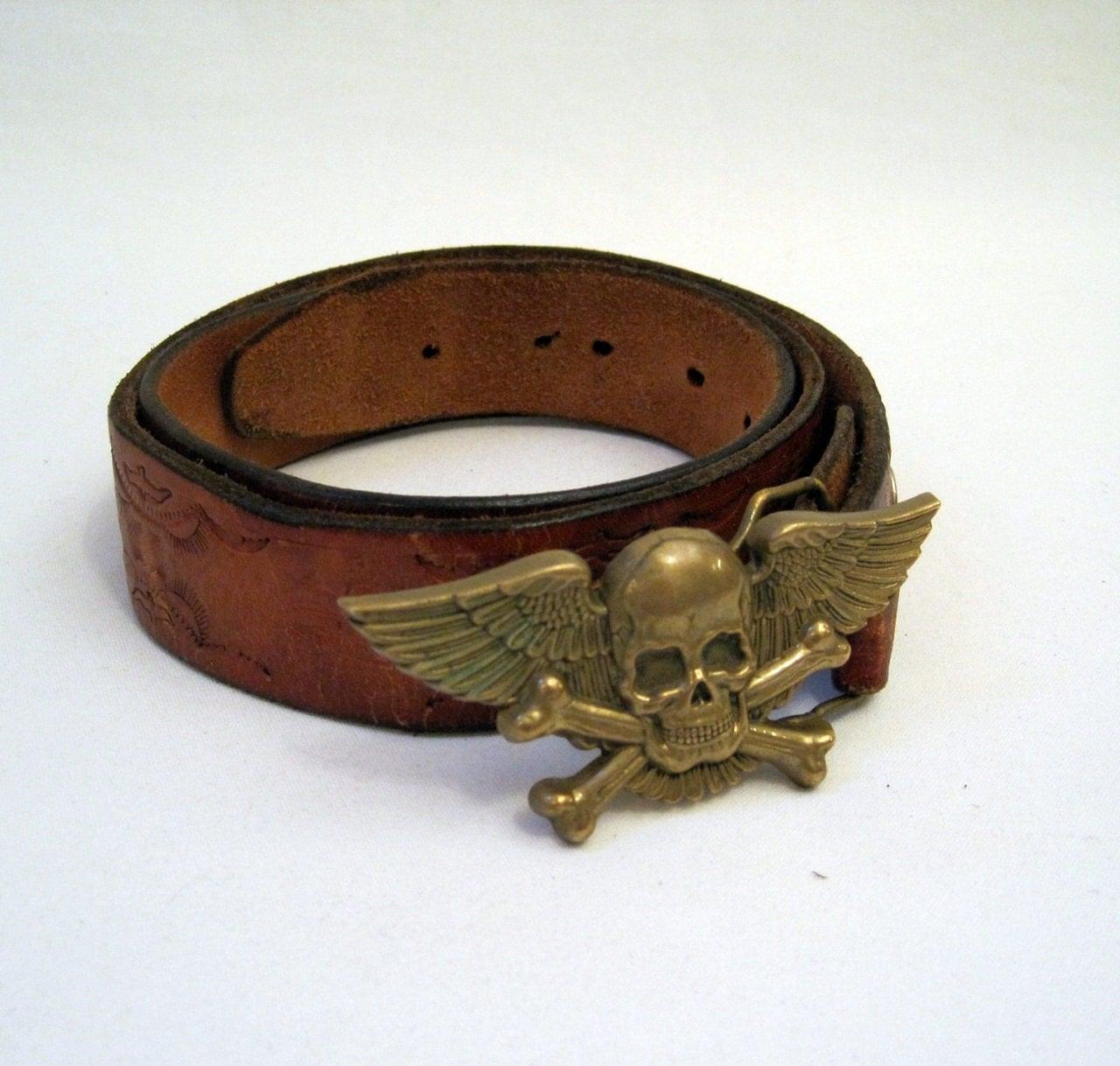 mens belt pirate skull and cross bones vintage tooled leather