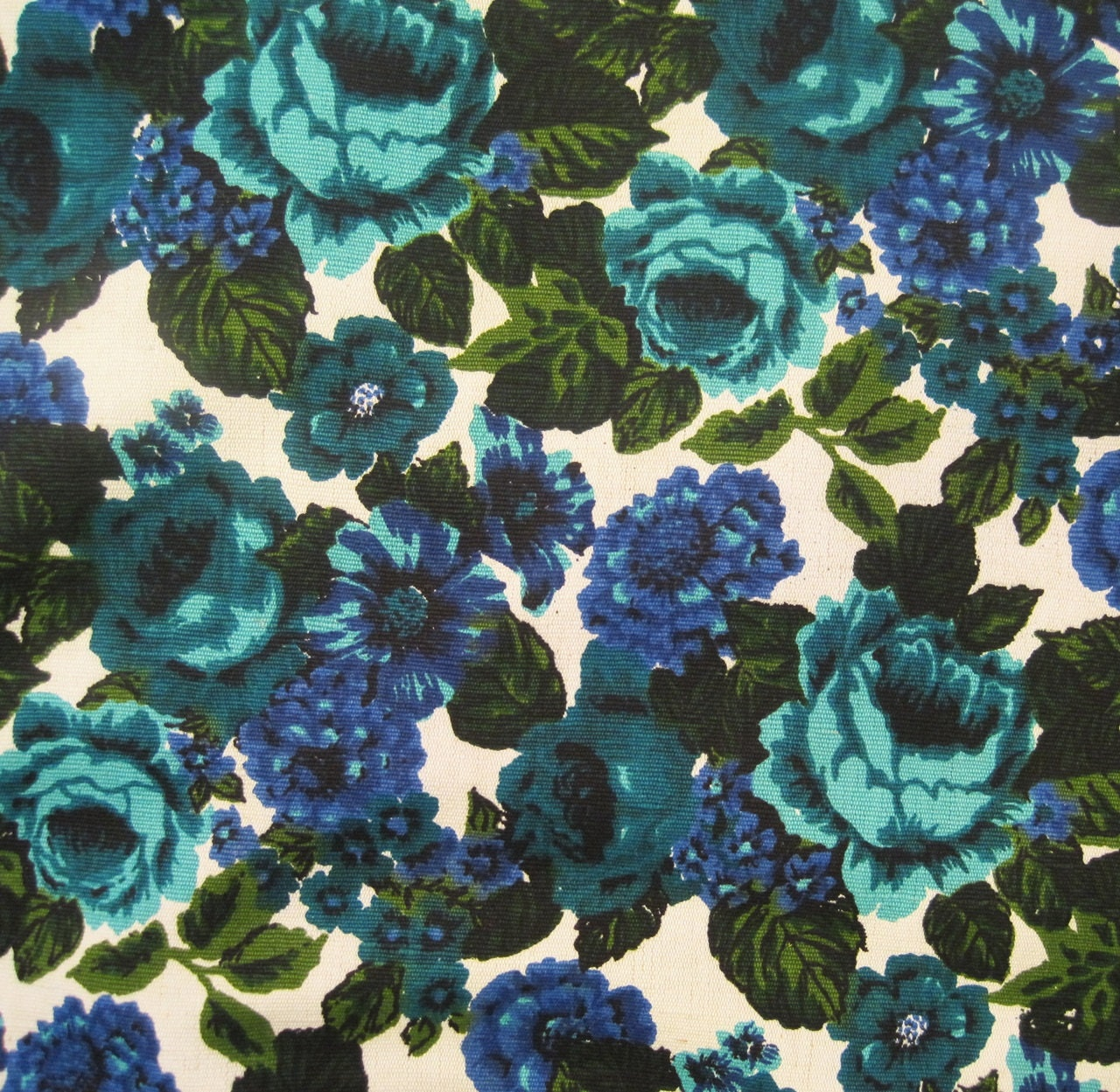 60s fabric vintage floral upholstery fabric cotton linen blue for Floral upholstery fabric