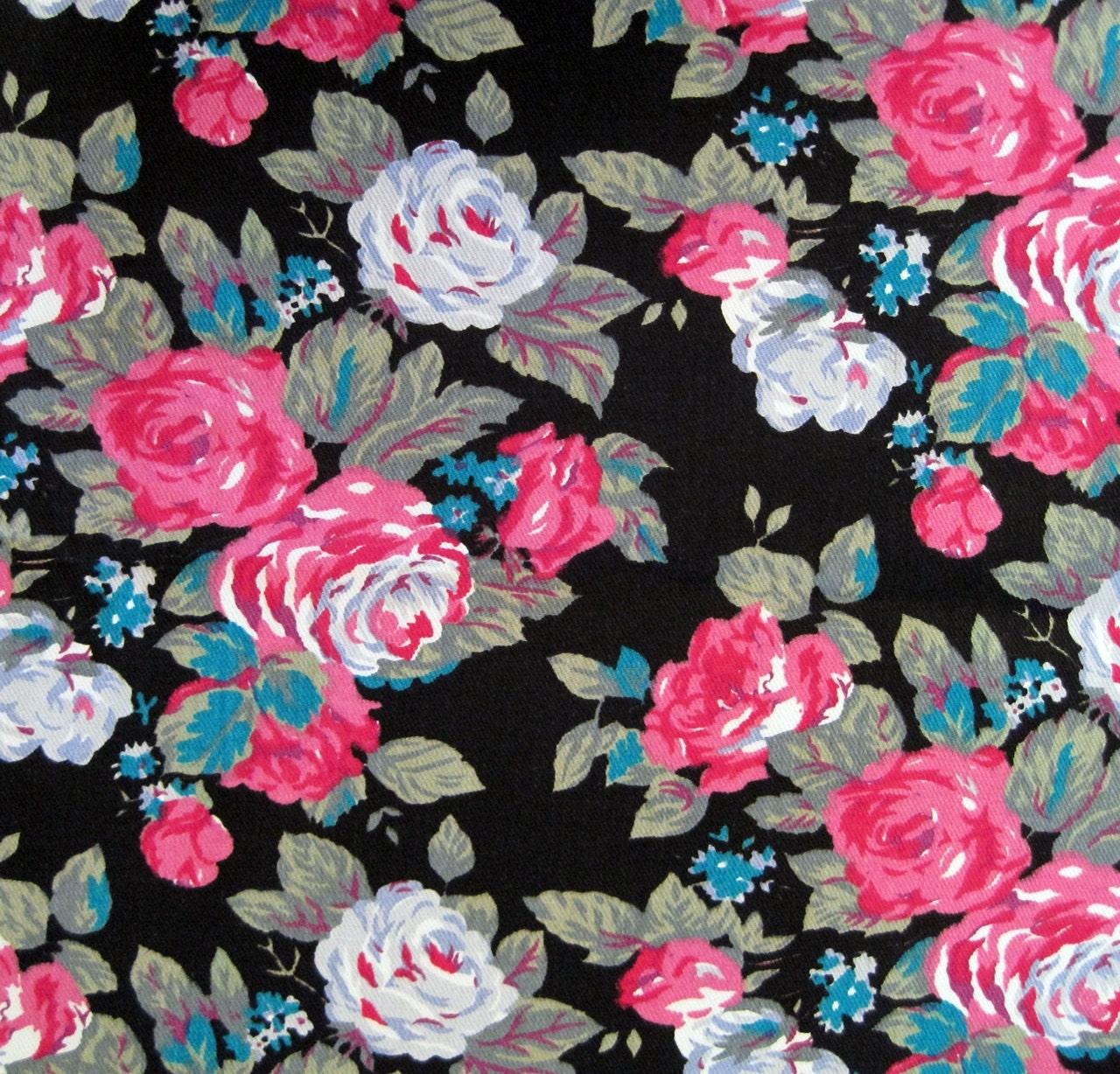 Black Flower 21st Century Op Art Set: 80s Fabric Vintage Floral Denim Fabric Cotton By Voguevintage