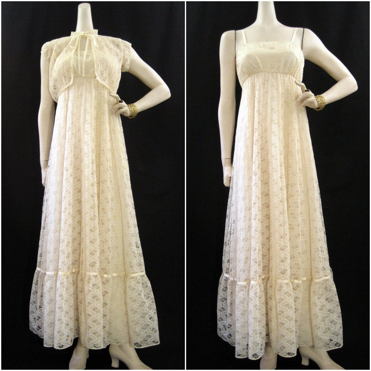 RESERVED 70s Dress Vintage Boho Chic Lac Hippie Wedding