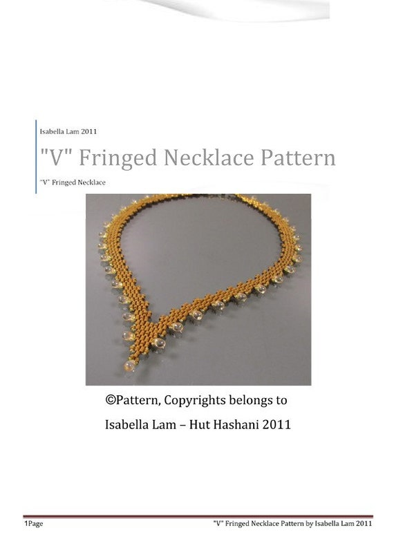 V Fringed Necklace PDF Bead Weaving Pattern tutorial
