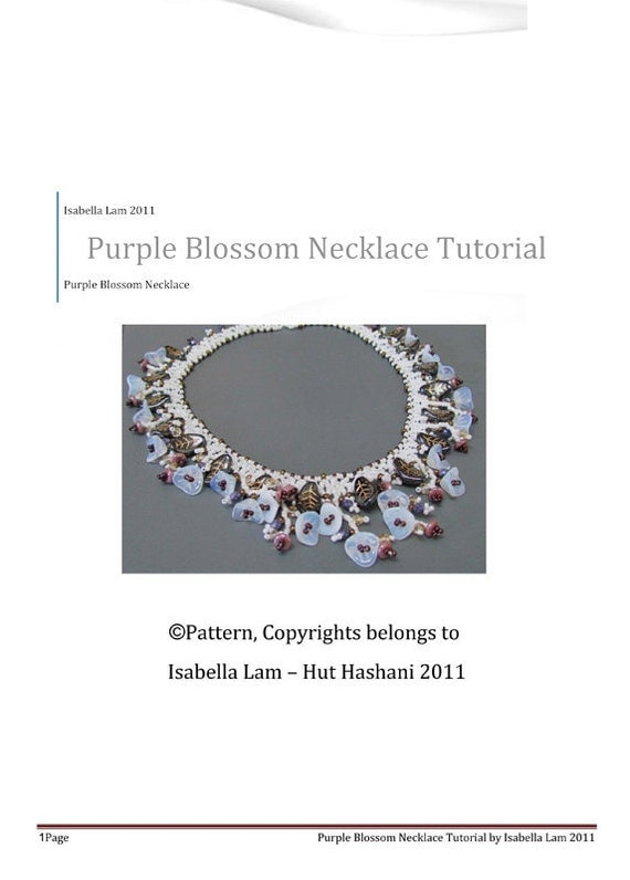 Purple Blossom Necklace beading tutorial PDF Pattern for personal use only