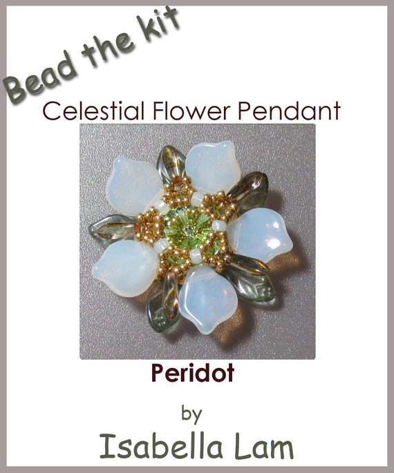 Buy The KIT - Celestial Flower pendant Peridot (Instruction and Materials)