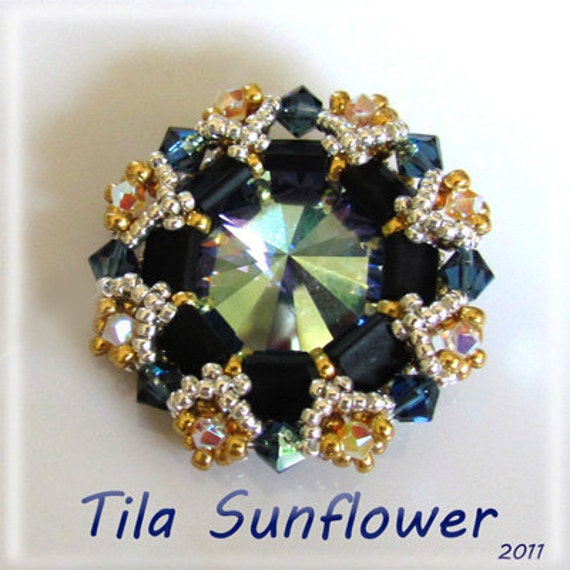 TILA SunFlower pendant - Exclusively Pdf Beading Tutorial Instructions for personal use only