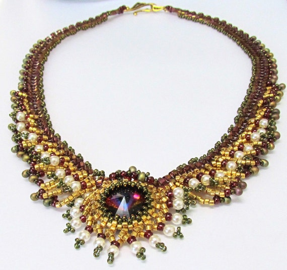 Gold Feriga Fringed Necklace Exclusively PDF Necklace Beading tutorial for personal use only