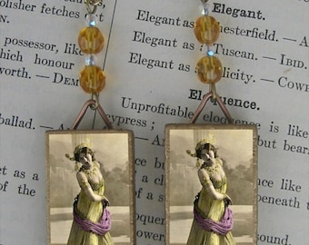BELLY DANCER bellydancer MATA HARI vintage portrait BEADED EARRINGS