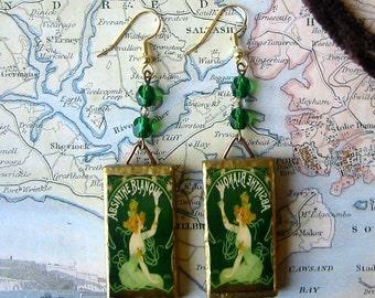 Green ABSINTHE FAIRY beaded Earrings