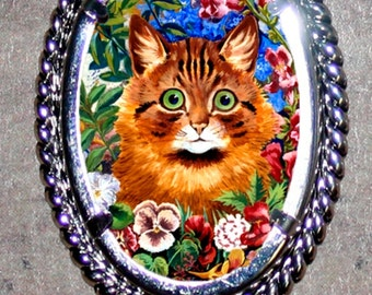 Cat in Flowers by Louis Wain Frame Pendant