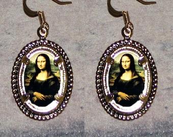 MONA LISA by Leonardo da Vinci Oval Frame Earrings