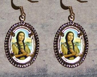 Blessed Kateri Tekakwitha Oval Frame Earrings