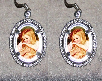 Sara and Cat by Mary Cassatt Oval Frame Earrings