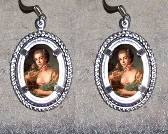 Rococo Beauty by Boucher Oval Frame Earrings