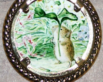 Johnny Town Mouse in the Rain Frame Pendant