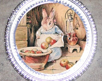 Bunny with Apples Frame Pendant