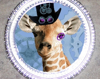 Steampunk Giraffe Frame Pendant
