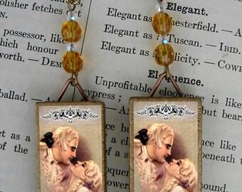 WIGGED KISSES Colonial Love by Corbella CZECH BEADED EARRINGS