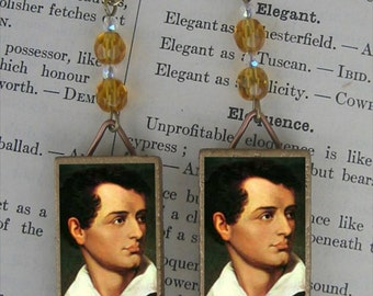 Poet LORD BYRON portrait beaded earrings