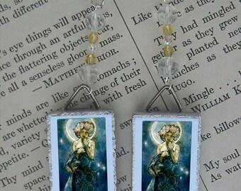 Alphonse Mucha MOON Goddess beaded Earrings