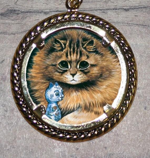Brown Persian Cat by Louis Wain Frame Pendant