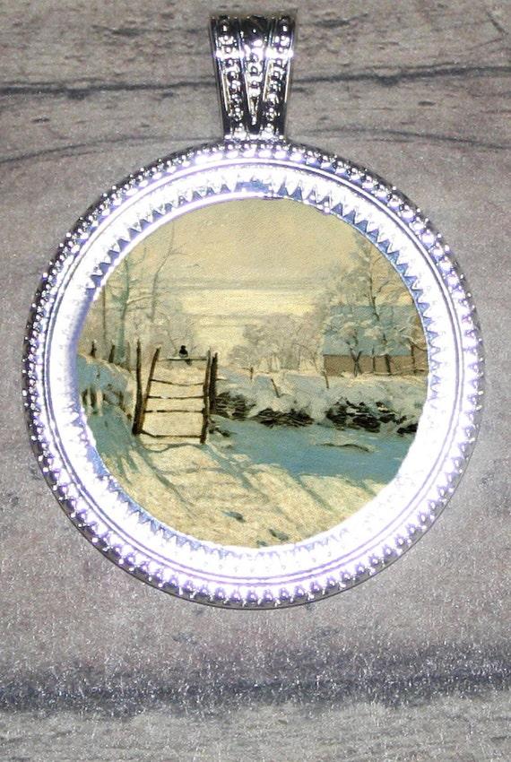Winter Scene by Claude Monet Frame Pendant