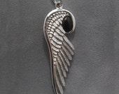 Angel wing - Sterling silver - Onyx