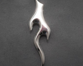 Flame pendant  - sterling silver