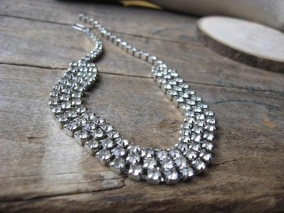Three Row Rhinestone Necklace