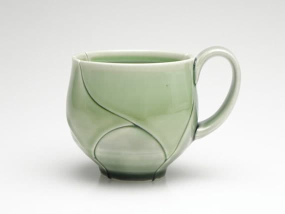 Green Porcelain Coffee Cup Leaf Style