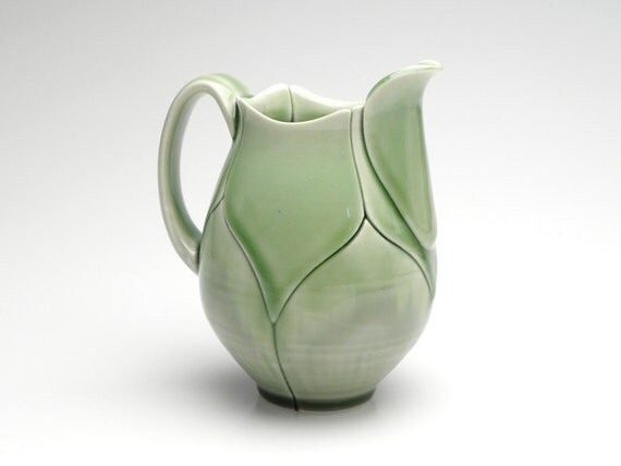 Olive Green Mini Pitcher for Cream or Syrup Lotus Style