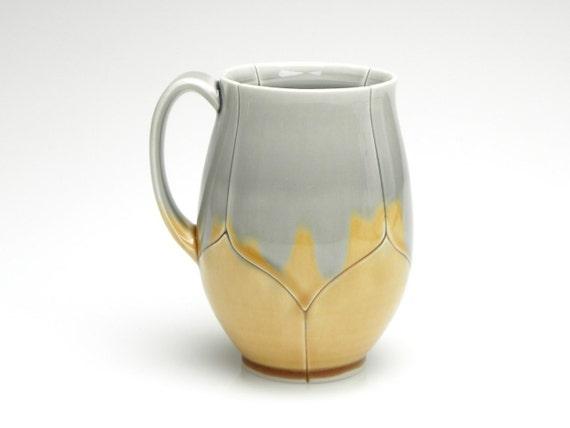 Tall Large Amber and Grey Lotus Mug