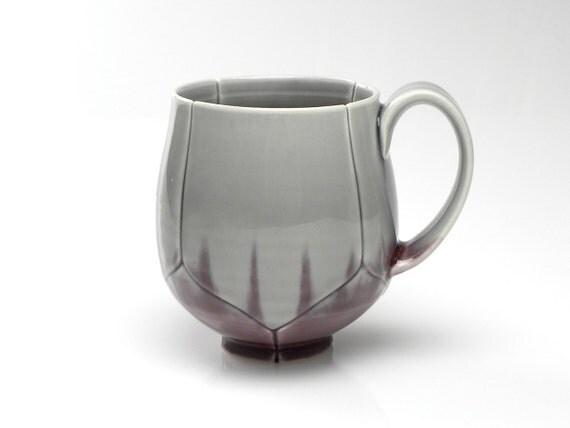 Grey and Purple Lotus Coffee Mug or Tea Cup