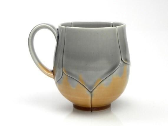 Grey and Amber Asymmetrical Lotus Coffee Mug or Tea Cup