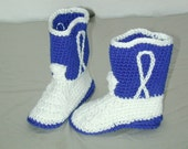 Crocheted Cowboy Cowgirl Boots Navy Blue/White Baby Size 5