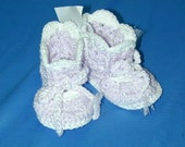 Baby Booties Mauve  And White Crocheted Fits Newborn To 3 Months