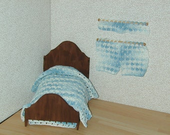 Dollhouse Miniatures Crochet Bedspread and Curtains Set 1/12 Scale