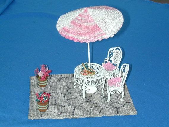 Doll House Miniature Patio Set inc. Patio, Table, Chairs, Umbrella & Flowers  Dollhouse