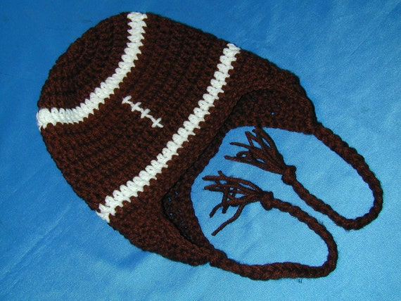 Crochet  Earflap Football Hat Fits 3 to 6 months baby
