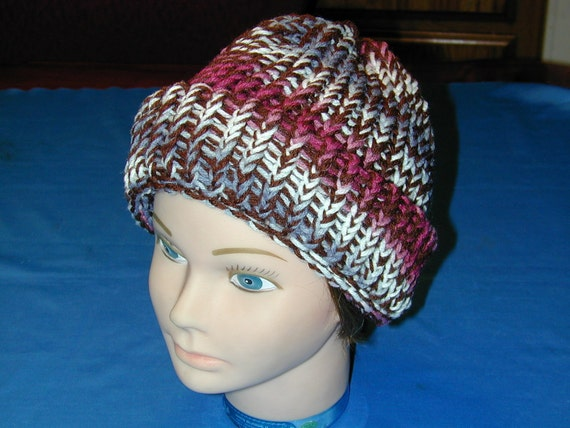 Stocking Hat Size Adult Large White/Brown/Blue/Maroon